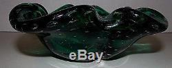 VTG Murano Hand Blown Glass Bowl Emerald Controlled Bubbles 8x8x2