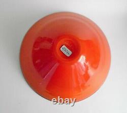 VeArt 1986 Murano Venetian Hand Blown Glass Bowl Orange & Black 5 x 10.5
