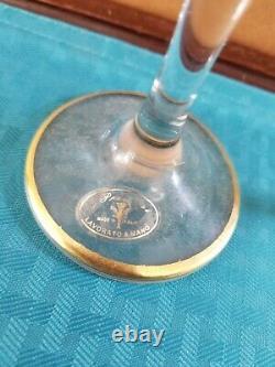 Venetian Murano 2pc Hand Blown Wine Goblet-24K Gold-Amethyst 7 3/4