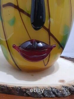 Venetian Murano Art Glass Abstract Picasso Lady Face Vase Gold and Red 12