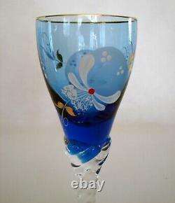 Venetian Murano Hand Painted Blue Glass Liquor Decanter & 6 Wine Glasses Set