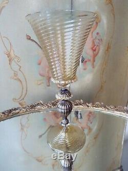 Venetian Murano Italian Cobalt & Gold Foil Art Glass Goblet Stem