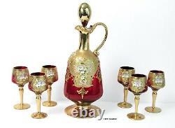 Venetian Murano Italian Glass Decanter & 6 Cordial Set Red Gilded Floral Enamel