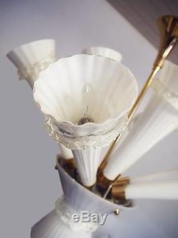 Venetian TRUMPET CHANDELIER Murano Opaline Handblown Glass 1960s