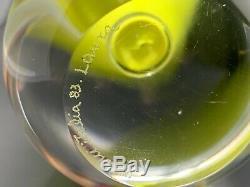 Venini Biro Trumpet Vase By Laura Diaz De Santillana Murano Italy 13.75 Green