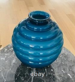 Venini Vaso Hand Blown Opaline Vase Signed 1998
