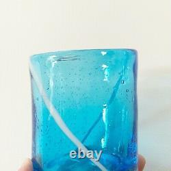 Venini for Disaronno VTG MCM Murano Glass Hand Blown Tumblers Lot 6 Blue White