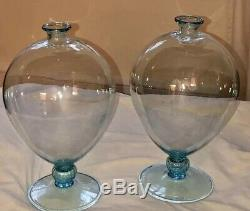 Veronese Opalino Hand Blown Glass Vases Pair, Limited Edition