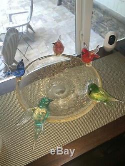 Very Large Murano Art Hand Blown Glass Bird Bath Bowl with five (5) Birds