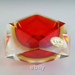Vetri Molati Murano Faceted Red & Amber Sommerso Glass Bowl