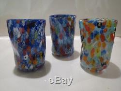 Vetro di Murano glass firmato Set n. 12 goti fornasa murrina millefiori handblown
