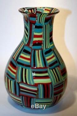 Vetro di Murano glass firmato vase handblown tessere vaso signed Davide Toso
