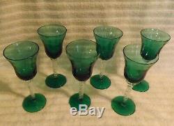 Vintage 1960's Murano Venetian Emerald Green Hand Blown Wine Decanter, 6 Glass G