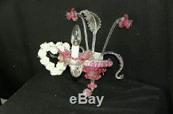 Vintage 1970 MURANO hand blown pink clear glass sconce wall light no2