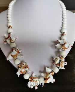 Vintage 30's Venetian Murano Hand Blown White Milk Glass Gold Birds Necklace