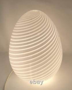 Vintage 60s-70s Vetri/ Maestri Murano White Swirl 16 Italian Glass Egg Lamp AL