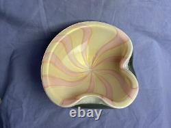 Vintage Alfredo Barbini Murano Pink White Gold Flecks Italian Art Glass Ashtray