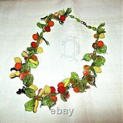 Vintage Art Deco 1930s Italian Murano Hand blown Glass'Tutti Frutti' Necklace