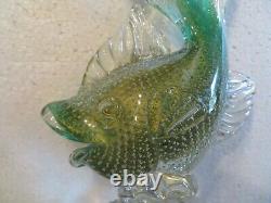 Vintage Art Glass Archimede Seguso Bullicante Murano Fish Made In Italy