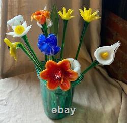 Vintage Assorted Murano Art Glass Long Stem Flowers Bouquet 19 Italian Venetian