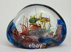 Vintage Authentic Murano Glass Aquarium 3 Fish Fantastic colors Made in Italy