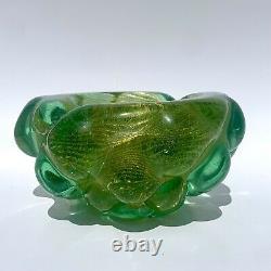 Vintage Barovier Toso Murano Art Glass Bowl/Ashtray Green Gold Aventurine