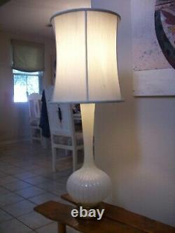 Vintage Barovier Toso Murano Italian Art Glass Lamp Gold Flecks Vertical Ribbed