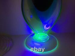 Vintage Footed Murano Uranium Blue Amethyst Sommerso Glass Jug Pitcher Vasevgc