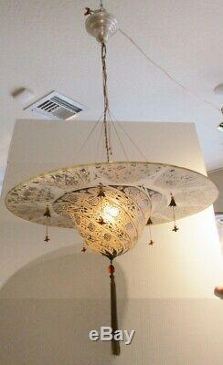 Vintage Fortuny Murano Glass Hanging Chandelier Signed Archeo Venice Design