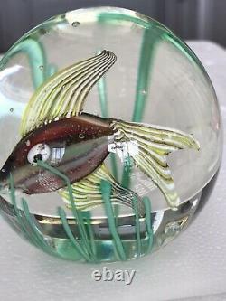 Vintage Fratelli Toso Aquarium Iridescent Fish & Seaweed Glass Paperweight