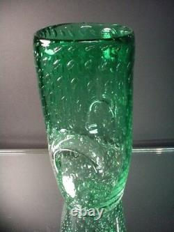 Vintage Fratelli Toso Hand Blown Green Shaded Bullicante Oval Vase Murano Eames