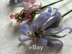 Vintage Glass Flowers Venetian Murano Lilac Glass Stems Home Decor Boudoir /5pc