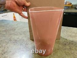 Vintage Hand Blown Art Glass BAROVIER & TOSO MURANO Red Stripe Vase 8.5