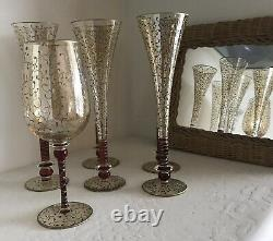 Vintage Hand Blown / Hand Decorated Murano Gold / Red Flash Champagne Flutes