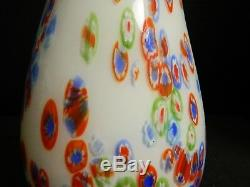 Vintage Hand Blown Murano Milleflori White Art Glass Vase 10.5 x 5 Excellent