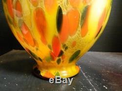 Vintage Hand Blown Murano Orange, Yellow & Black Spatter Art Glass Vase 11 x 8