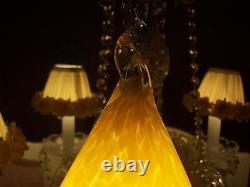 Vintage Hand Blown Murano Set Of 2 Lamp Shades Italy