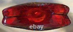 Vintage Hand Blown Murano Tall Red & Yellow Millefiori Glass Vase 11.75 Tall