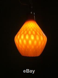 Vintage Hand-Blown Reticular Murano Amber Pendant Ceiling Lamp 1930s
