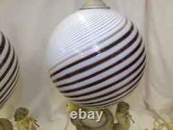 Vintage Italian Murano Art Glass Amber Gold Swirl Cherub Musicians 2 Table Lamps