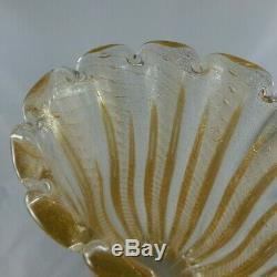 Vintage Italian Murano Barovier & Toso Huge 12 Glass Vase, Gold Cordonato D'Oro