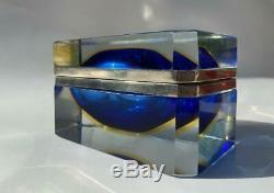 Vintage Italian Murano Blue Yellow Sommerso Art Glass Dresser Casket Jewelry Box