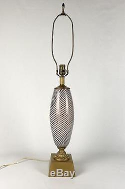 Vintage Italian Murano Dino Martens Hand Blown Art Glass Lamp Mezza Filligrano