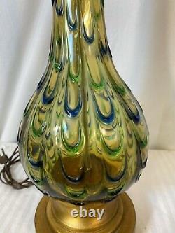 Vintage Italian Murano Glass Amber Blue Green Mid Century Modern Lamp SEGUSO