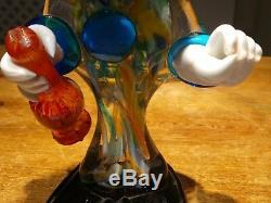 Vintage Italian Murano Glass Clown Holding Bottle 30cm+ Heavy Hand Blown Glass