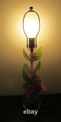 Vintage Italian Murano Venetian Art Glass Pink Flower Table Lamp Hand Blown