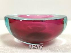 Vintage MCM Blue/Pink Murano Glass Sommerso Flat Cut Geode Bowl Cenedese 1960's
