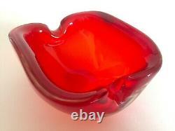 Vintage MID Century Modern Murano Italian Hand Blown Art Glass Red Ashtray Bowl