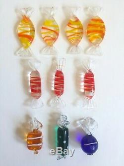 Vintage MID Century Modern Murano Italy Hand Blown Art Glass Candies 52 Pc Set