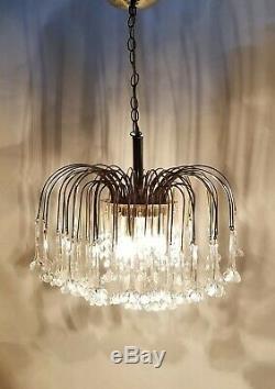 Vintage MURANO 3-Tier Italy Hand-blown Glass Flowers Chandelier Brass Pendant